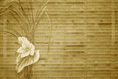 Retro gold floral background. With bamboo texture Stock Image