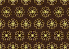 Retro Gold Flower and Gear Pattern on Dark Brown Color Stock Photo