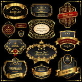 Retro Gold Frames On Black Background Royalty Free Stock Photos