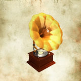 Retro gold gramophone Royalty Free Stock Image
