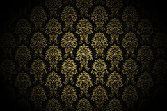 Retro gold luxury wallpaper. High resolution background wallpaper with fine detailed golden paint ornaments Stock Image