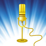 Retro Gold Microphone Icon Royalty Free Stock Photo