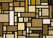 Retro Gold Mondrian Inspired Art. Gold and brown hues form colorful and funky blocks in this retro styled Mondrian inspired artwork. A twist on Cubism with a stock illustration