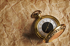 Retro gold pocket watch Stock Photography