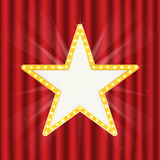Retro gold star. Vintage frame with lights isolated on red curtain. Retro gold star. Vintage frame with lights isolated red on curtain. Vector Royalty Free Stock Images