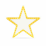 Retro gold star. Vintage frame with lights isolated on white background. Vector Stock Image