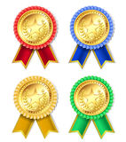 retro golden award with stars and ribbons Stock Photography