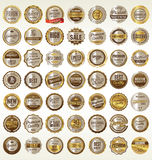 Retro golden badges collection Royalty Free Stock Images