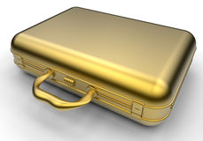 Retro golden briefcase. 3D render illustration of a retro golden briefcase. The object is  on a white background with shadows Stock Photo