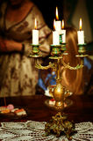 Retro golden candlestick Royalty Free Stock Images