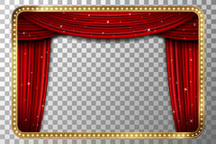 Retro golden frame with red curtain vector illustration Royalty Free Stock Images