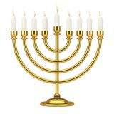 Retro Golden Hanukkah Menorah with Burning Candles. 3d Rendering Royalty Free Stock Photography