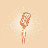 Retro golden microphone Stock Image