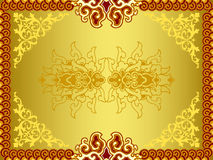 Retro golden patterns. Illustration of complex floral patterns in golden background Royalty Free Stock Photos
