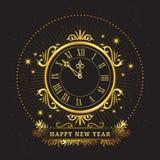Retro golden watch. Happy New Year, Vintage mechanism Stock Photo