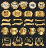 Retro- goldene Ausweise und Aufkleber des Superverkaufs vector Sammlung Lizenzfreies Stockbild