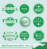 Retro Golf Labels and Stickers. Collection of vintage style golf champions labels and badges Royalty Free Stock Photography