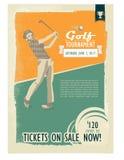 Retro golfaffiche of vlieger met een golfspeler Royalty-vrije Stock Afbeeldingen