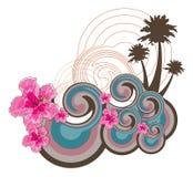 Retro golven en roze hibiscus Stock Afbeeldingen