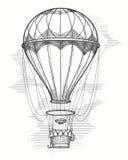Retro gorące powietrze balonu nakreślenie Zdjęcia Royalty Free