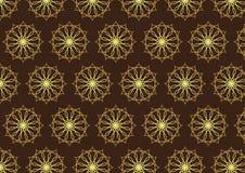 Retro Gouden Bloem en Toestelpatroon op Donkere Bruine Kleur Stock Foto
