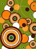 retro grön orange pop för cirklar stock illustrationer
