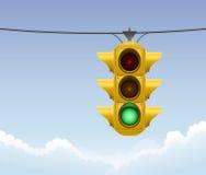 Retro grön trafikljus Arkivbilder