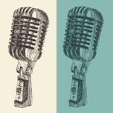 Retro grabada vintage del micrófono del estudio ilustración del vector