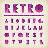 Retro gradient violet and pink alphabet typography gradient font Royalty Free Stock Image