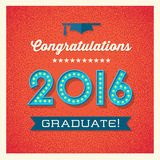 Retro graduation card design with light bulb sign numbers Stock Photography