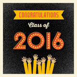 Retro graduation card design with light bulb sign numbers Stock Images