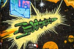 Retro graffiti rocket ship. Rocket ship graffiti art, Brick Lane, London royalty free illustration