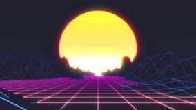 Retro grafici futuristici di moto Paesaggio di Digital che si muove in un mondo cyber Retro animazione di Wave con il sole, lo sp illustrazione di stock