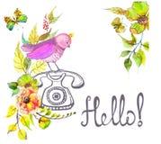 Retro graficzny telefon, akwarela tekst i kwiaty i - Cześć Zdjęcia Royalty Free