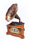 Retro grammofon som isoleras på vit Royaltyfria Bilder