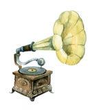 Retro grammofon som isoleras på vit bakgrund Fotografering för Bildbyråer
