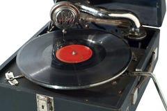 Retro- Grammophon der Weinlese getrennt auf Weiß Stockfoto