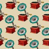 Retro gramofonowy bezszwowy wzór ilustracji