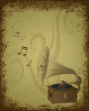 Retro Gramophone Background Stock Photos