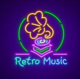 Retro gramophone old music neon sign icon Royalty Free Stock Photography