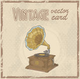 Retro gramophone stylish vintage postcard Royalty Free Stock Photography