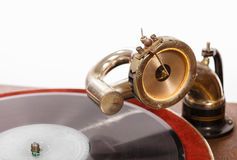 Retro gramophone with vinyl spinning Stock Image