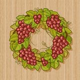 Retro grapes wreath Stock Images