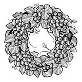 Retro grapes wreath black and white Royalty Free Stock Photos