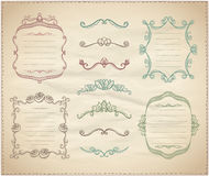 Retro graphic line elements, dividers and monogram frames on a paper Stock Photo