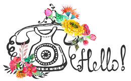 Retro graphic phone and watercolor flowers. And text - Hello royalty free illustration