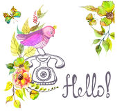 Retro graphic phone and watercolor flowers and text - Hello Royalty Free Stock Photos