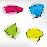 Retro grappige lege die toespraakbellen op kleurrijke achtergrond worden geplaatst Stock Fotografie