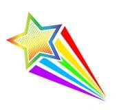 Retro grappige stijl die van het beeldverhaalpop-art kleurrijke ster schieten Vector vector illustratie