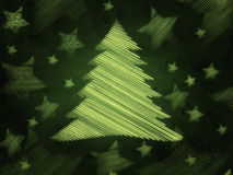 Retro green background with christmas tree Stock Photography
